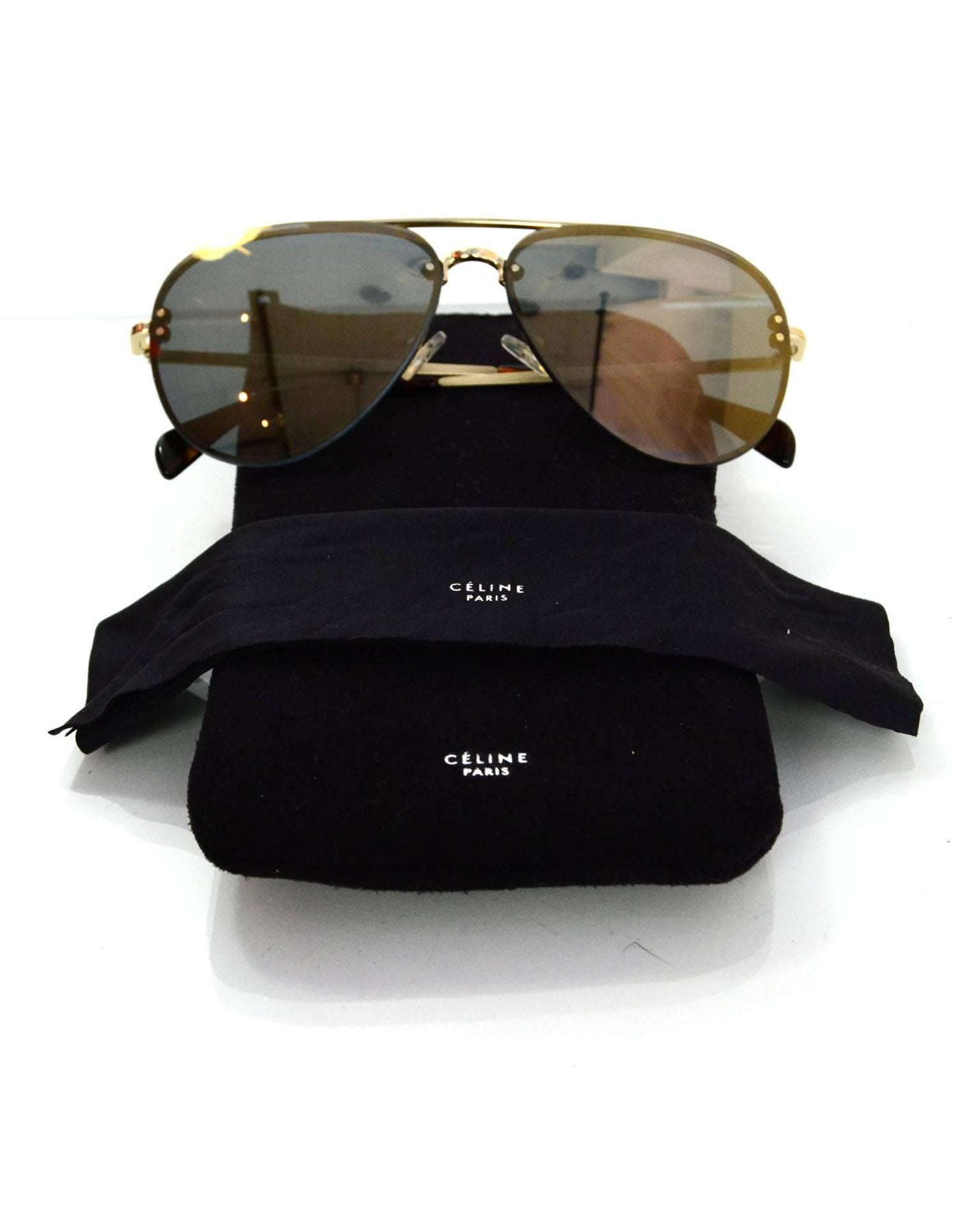 f0ff8d82878c4 Celine Gold Mirrored Aviator Sunglasses For Sale at 1stdibs