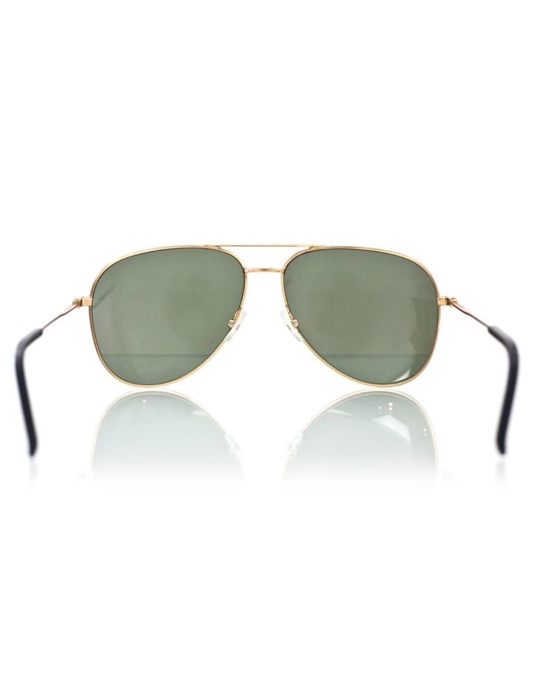 Women's or Men's Saint Laurent Black & Gold Classic 11 Aviator Sunglasses with Case rt. $405 For Sale