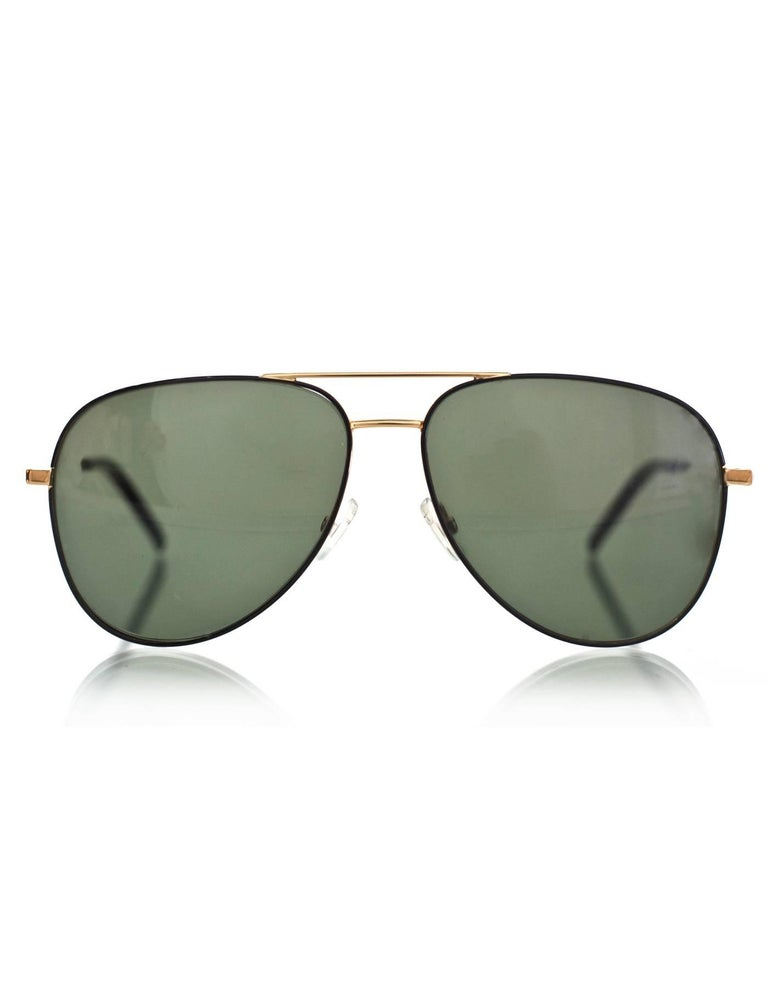 Gray Saint Laurent Black & Gold Classic 11 Aviator Sunglasses with Case rt. $405 For Sale