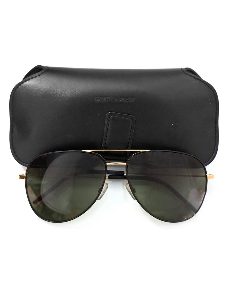 Saint Laurent Black & Gold Classic 11 Aviator Sunglasses with Case rt. $405 For Sale 4