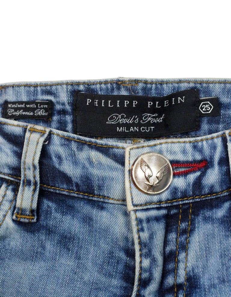Gray Philipp Plein Snakeskin Jeans Sz 25 For Sale