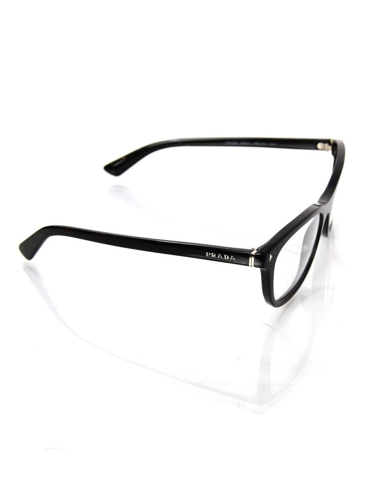 Prada Black Logo Eye Glasses with Box and Case For Sale at 1stdibs