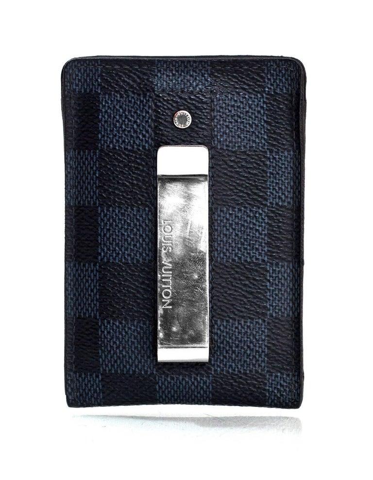 00e59da5e187 Black Louis Vuitton Men s Damier Cobalt Card Holder Money Clip SHW For Sale