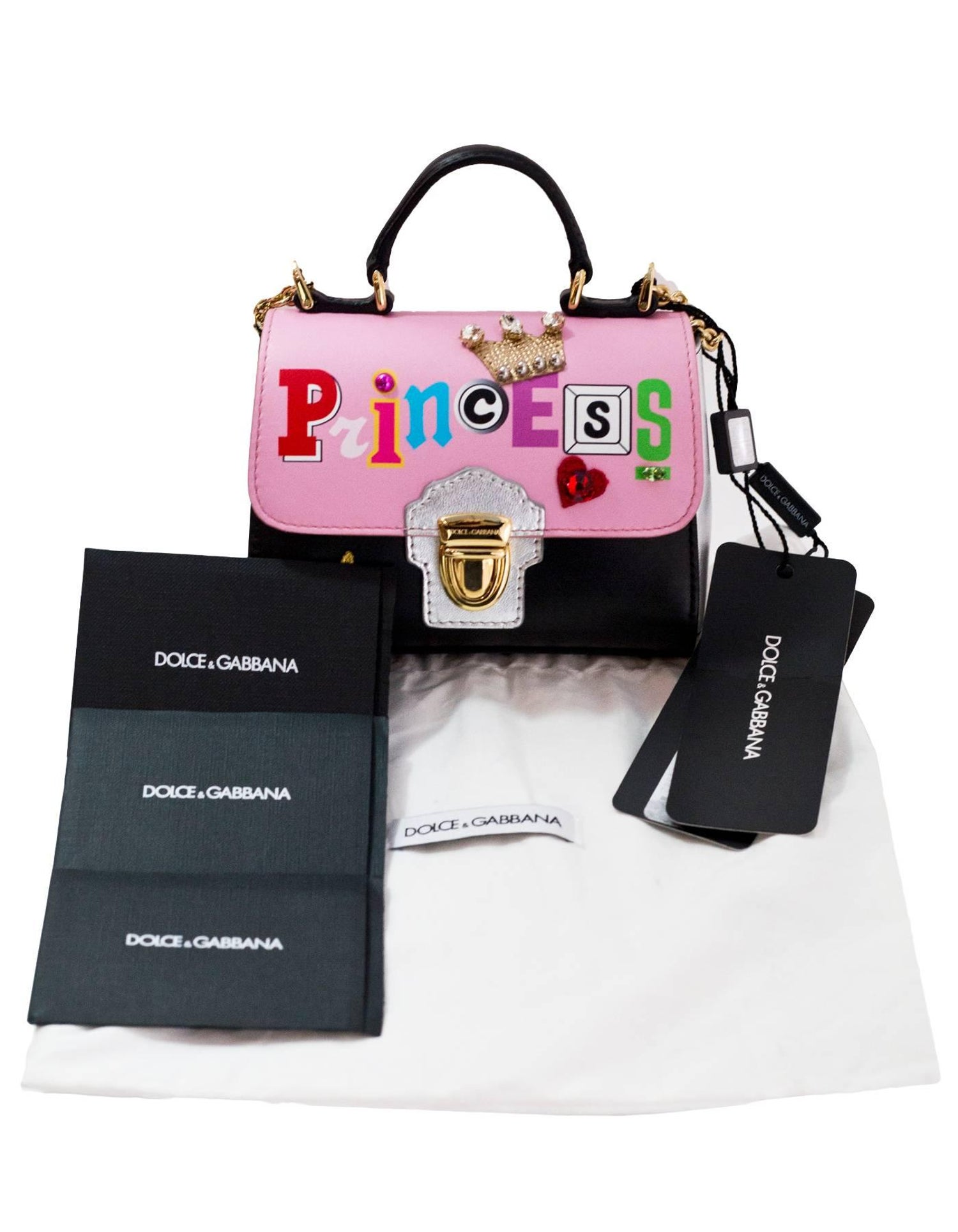 610d0daa8074 Dolce and Gabbana 2017 Children s Colorblock Princess Flap Bag NWT For Sale  at 1stdibs