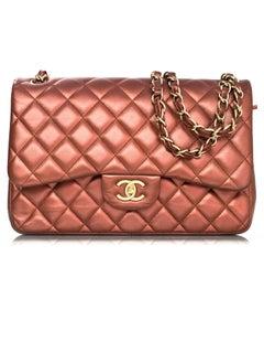 Chanel Bronze Metallic Lambskin Quilted Double Flap Classic Jumbo Bag
