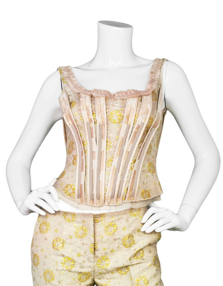 ad69f0111307d1 Prada Champagne  amp  Gold Brocade Corset Top Made In  Italy Color   Champagne