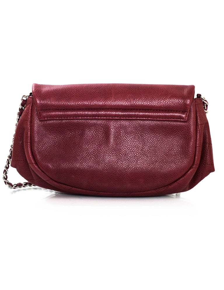 9f3df7ae0195 Brown Chanel Burgundy Caviar Leather CC Half Moon WOC Wallet on a Chain  Crossbody Bag For