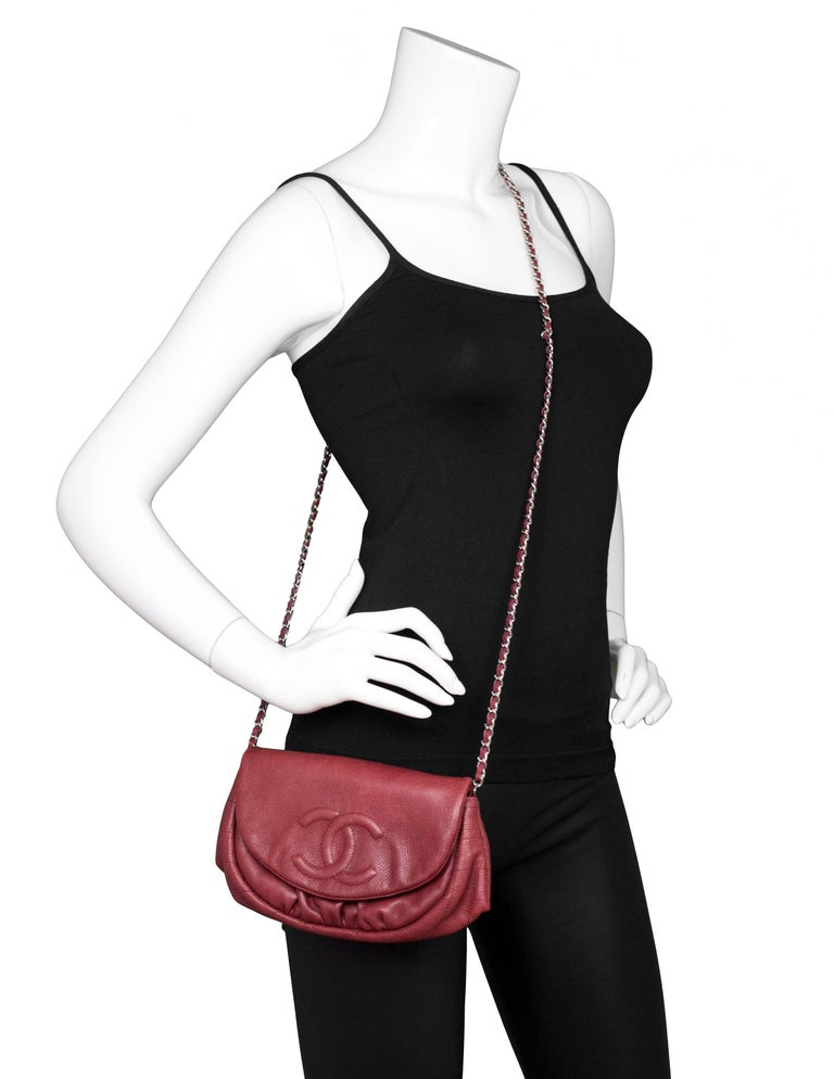 fe33a66c694d Chanel Burgundy Caviar Leather CC Half Moon WOC Features timeless CC  stitched on front of bag