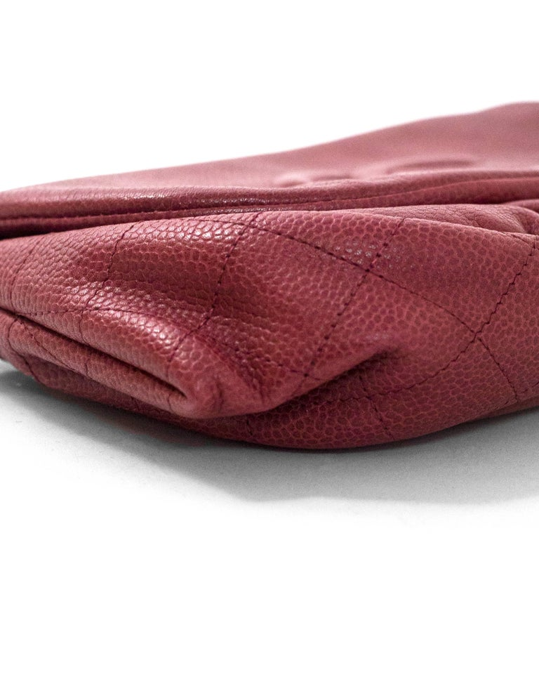 fcd25e8d278f Chanel Burgundy Caviar Leather CC Half Moon WOC Wallet on a Chain Crossbody  Bag In Excellent