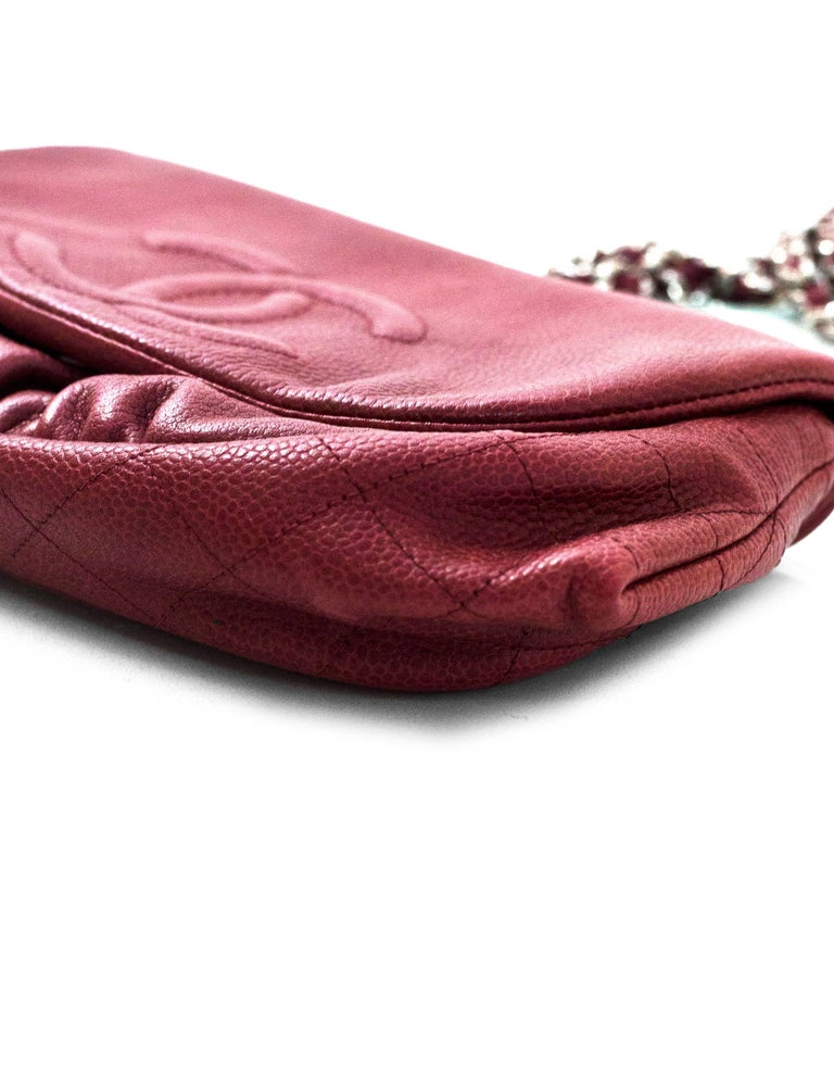 43c6610240e9 Women's Chanel Burgundy Caviar Leather CC Half Moon WOC Wallet on a Chain  Crossbody Bag For