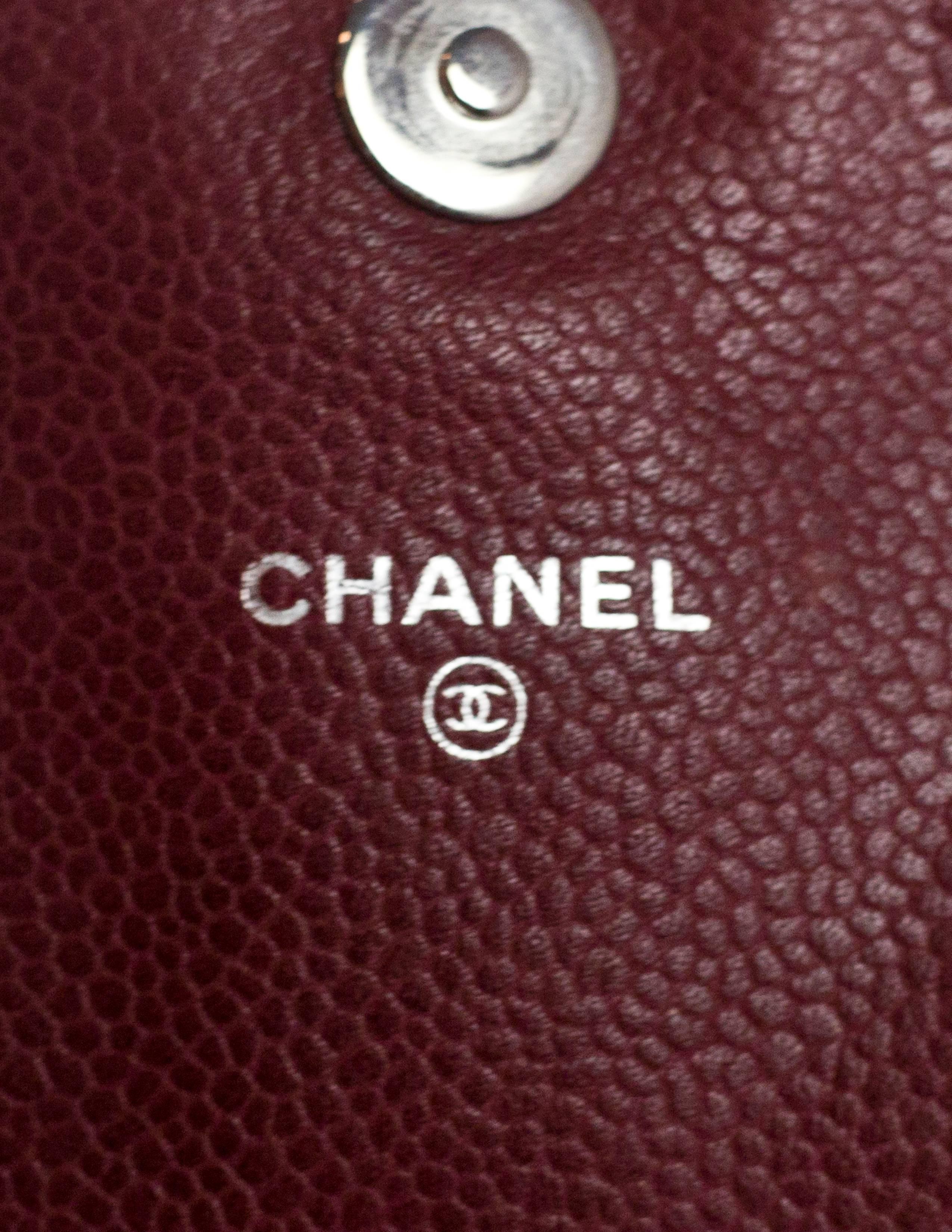 2503d66d3da7 Chanel Burgundy Caviar Leather CC Half Moon WOC Wallet on a Chain Crossbody  Bag For Sale at 1stdibs