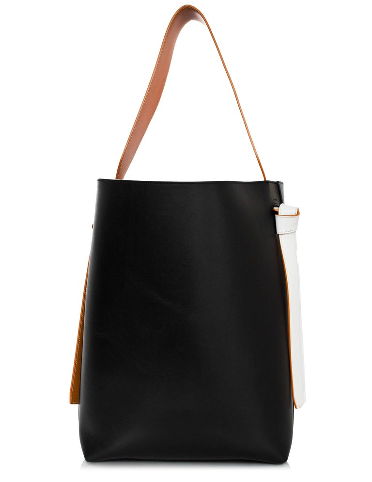 Celine Blue Black Shiny Calfskin Small Twisted Cabas Tote Bag In Excellent Condition For