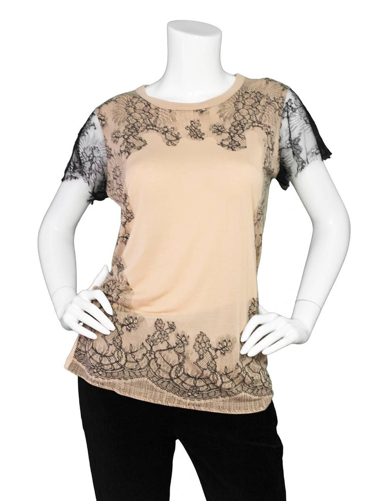 """Valentino Black & Tan Lace Top Sz S  Color: Black, tan Composition: Not listed, feels like cotton blend Closure/Opening: Pull over Overall Condition: Excellent pre-owned condition Marked Size: S Bust: 32"""" Waist: 31"""" Total Length:"""