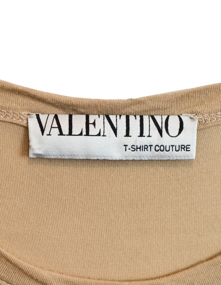 Valentino Black & Tan Lace Top Sz S In Excellent Condition For Sale In New York, NY