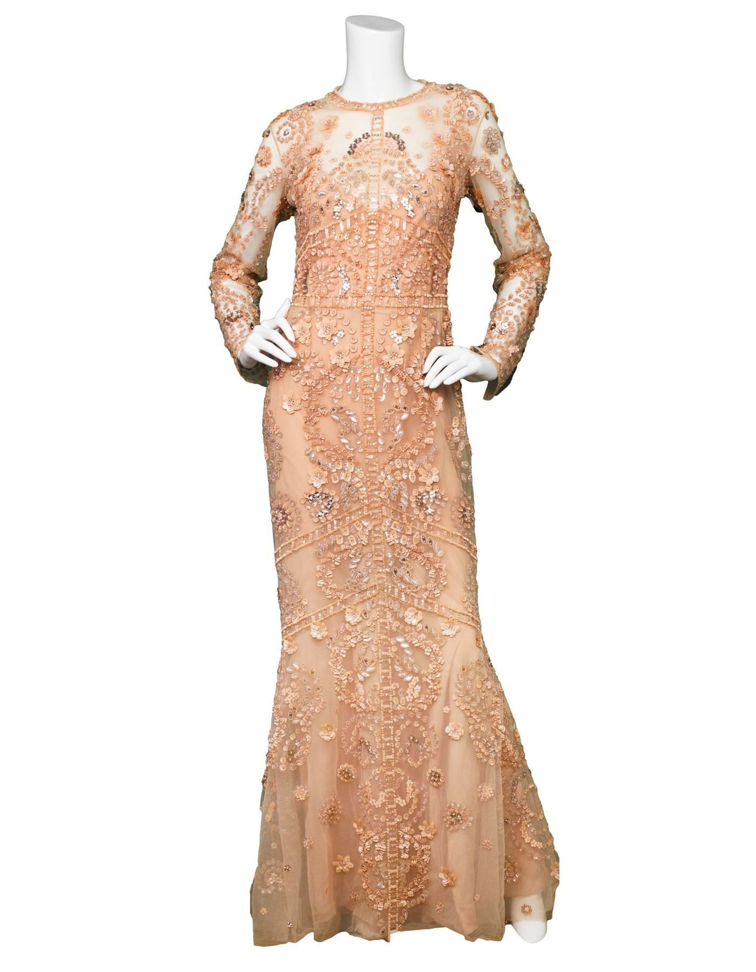 Zuhair Murad Blush Beaded Silk-Tulle Gown Sz US10 NWT For Sale at ...