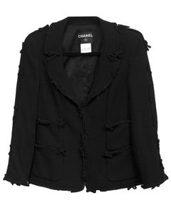 Chanel Black Wool Jacket with Bow Trim Detail Sz FR38
