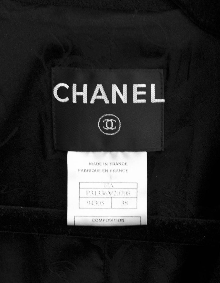 Women's Chanel Black Wool Jacket with Bow Trim Detail Sz FR38 For Sale
