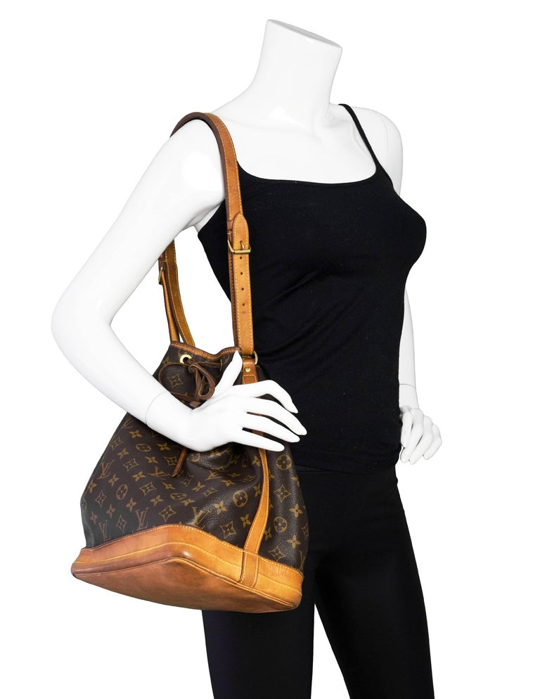 f3571fd65b78f Louis Vuitton Vintage Monogram Noe Bucket Bag Made In  France Color  Brown  and tan