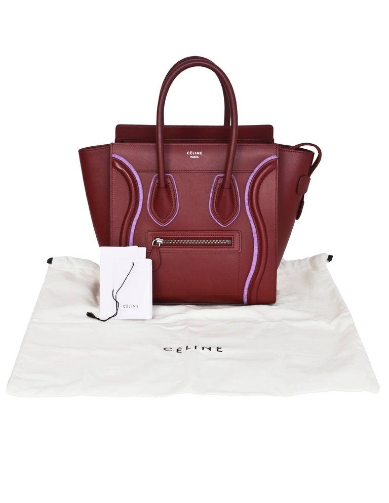 Celine 2016 Merlot & Purple Felt Micro Luggage Tote Bag rt. $3,400 For Sale 4