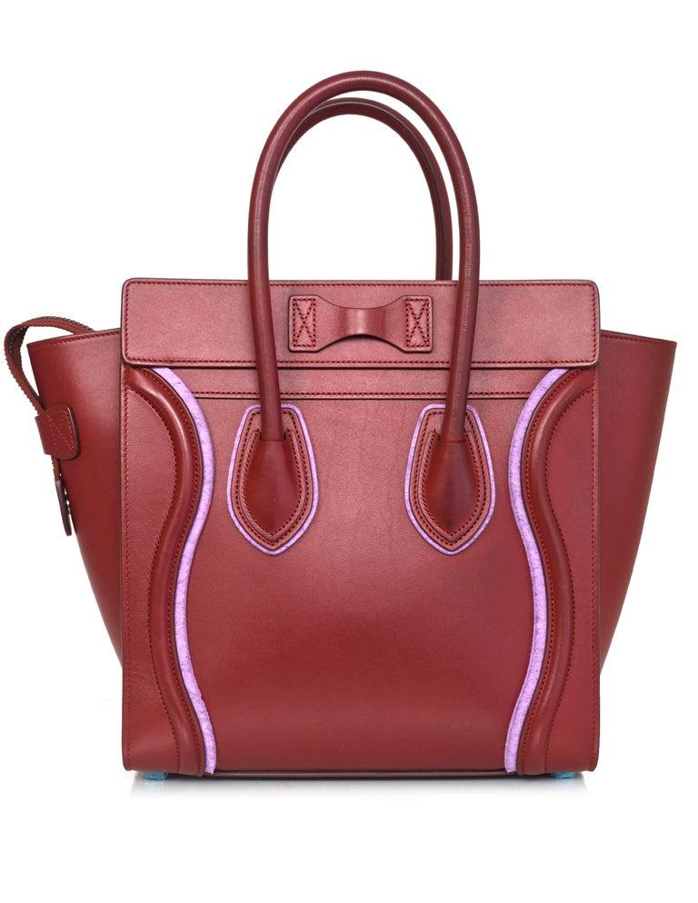 Brown Celine 2016 Merlot & Purple Felt Micro Luggage Tote Bag rt. $3,400 For Sale