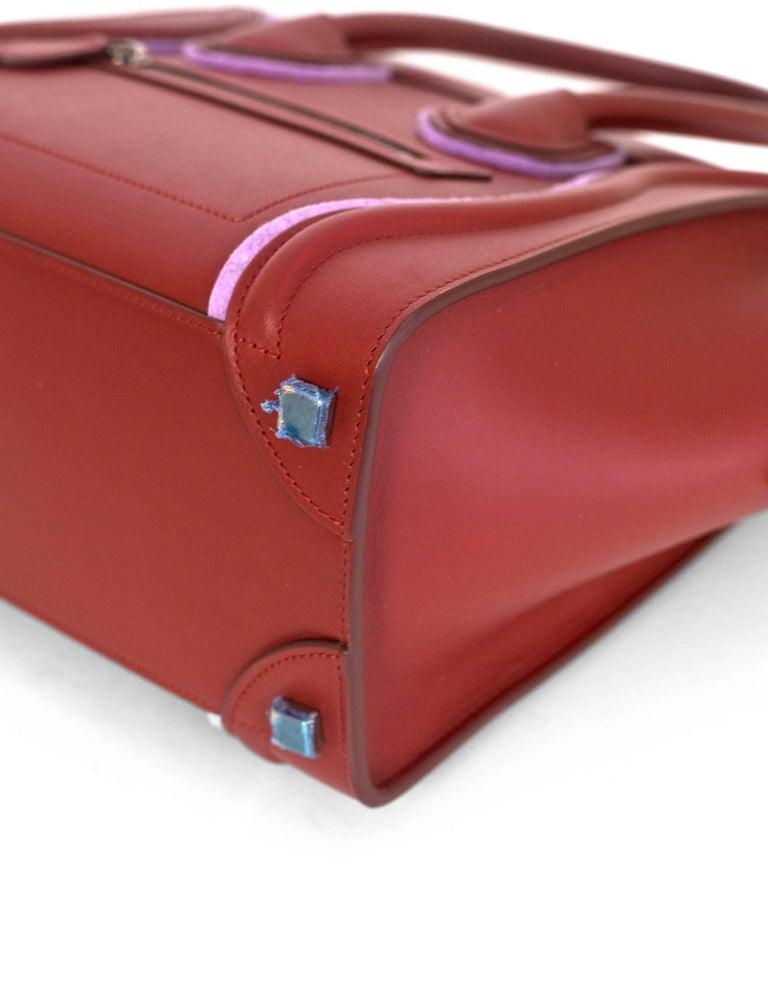 Women's Celine 2016 Merlot & Purple Felt Micro Luggage Tote Bag rt. $3,400 For Sale