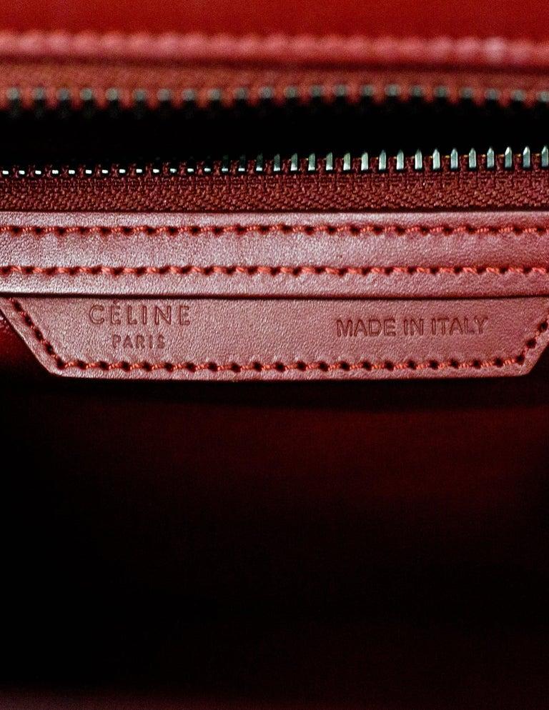 Celine 2016 Merlot & Purple Felt Micro Luggage Tote Bag rt. $3,400 For Sale 2