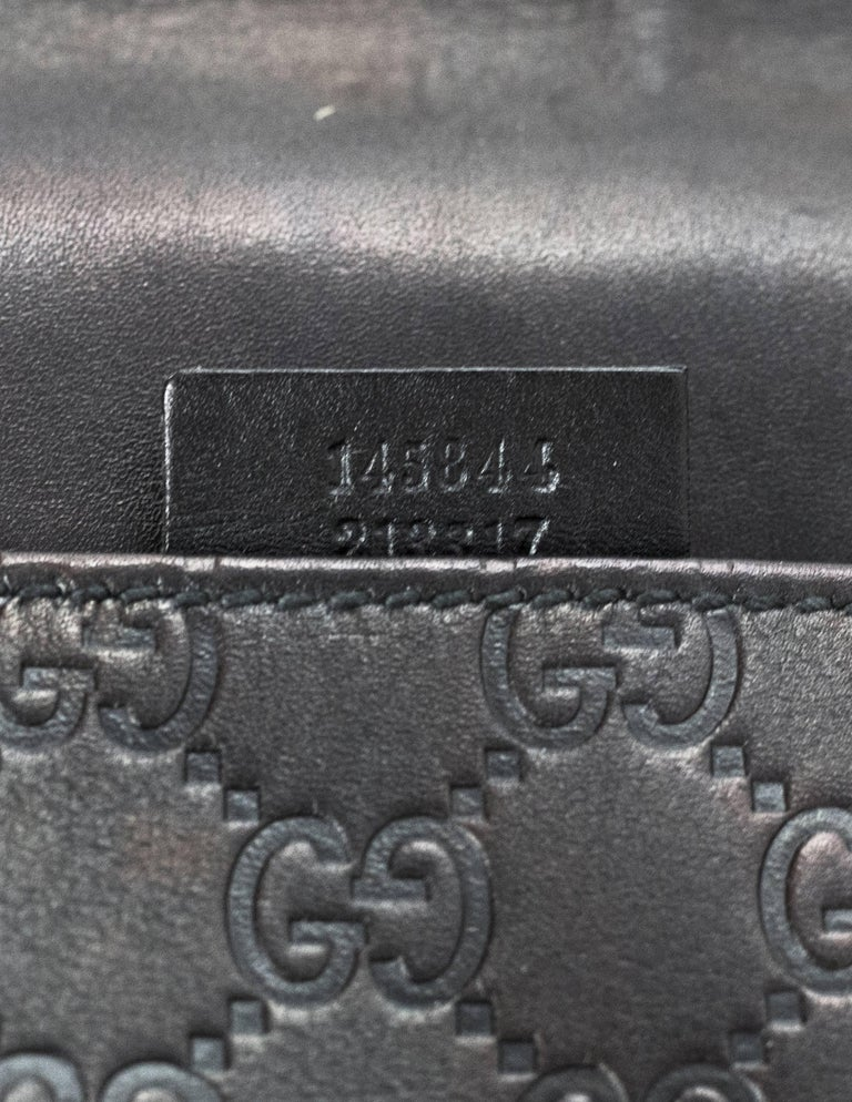 Gucci Metallic Black Guccissima Joy Messenger Bag For Sale