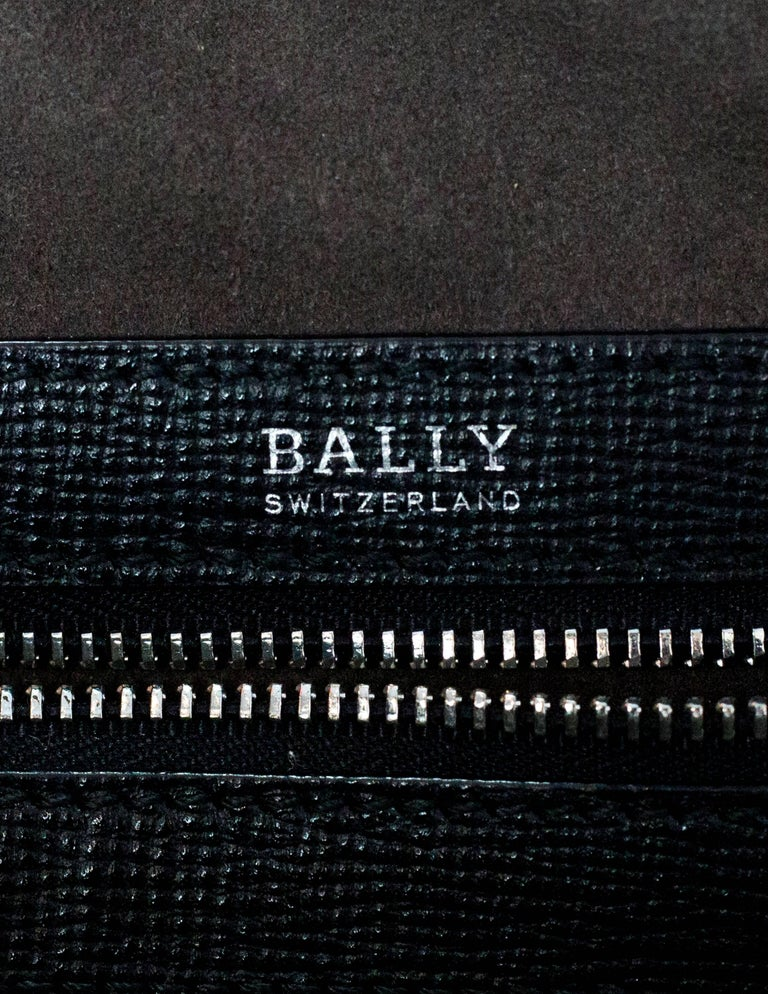 Bally Black Textured Leather Satchel/Briefcase Bag w. Strap For Sale 3