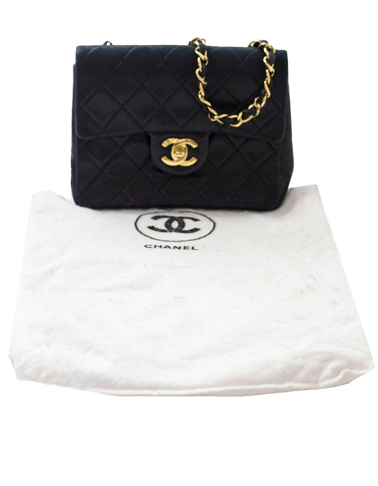 512535c68778 Chanel Vine Black Quilted Lambskin Square Mini Flap Bag With Db