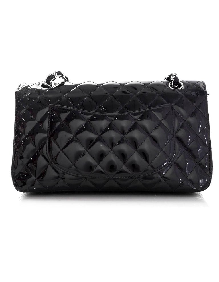 """c8c30ee33949b4 Chanel Black Patent Leather 10"""" Medium Double Flap Classic Bag with Dust  Bag For Sale"""