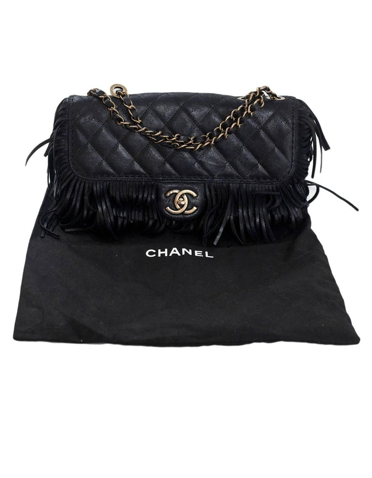 Chanel Black Quilted Nubuck Calfskin Paris/Dallas Fringe Flap Bag RT. $4,700 9