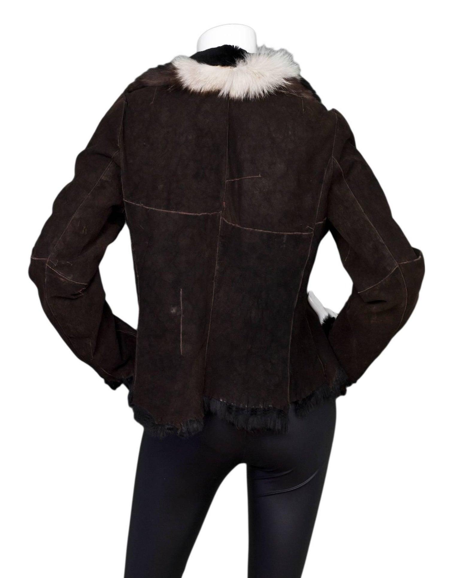 569e67378 Olivia Preckel Brown Suede & Black Fur Jacket Sz S