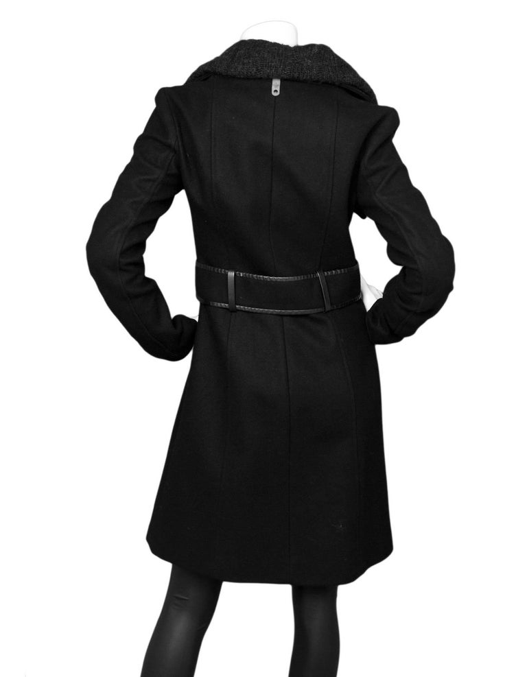 5cc90cab223 Mackage Black Wool   Leather Coat Sz XS In Excellent Condition For Sale In  New York