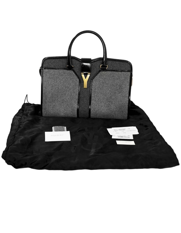 57941adb84e17 Yves Saint Laurent Cabas ChYc Medium Flannel and Patent Leather Tote Bag  For Sale 4