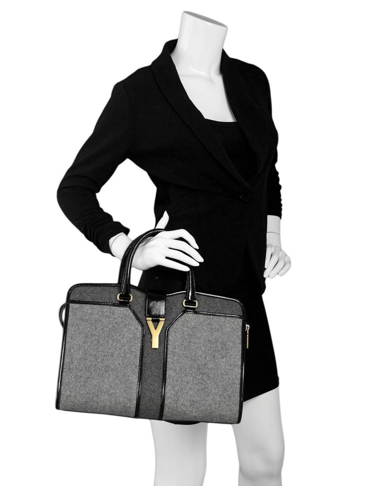 aa4d215e1a87 Yves Saint Laurent Cabas ChYc Medium Wool-Felt and Patent Leather Tote Made  In