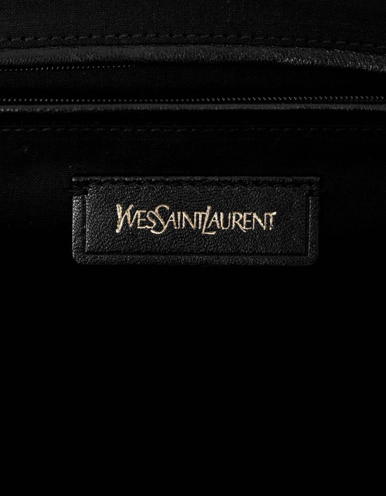 51d4b2363fcf4 Yves Saint Laurent Cabas ChYc Medium Flannel and Patent Leather Tote Bag  For Sale 2