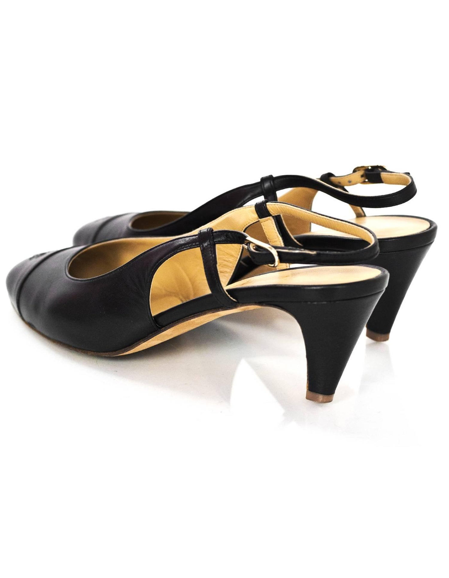 8860a891dc Chanel Black Leather Cap-Toe Slingback Pumps Sz 38.5 with Box For Sale at  1stdibs