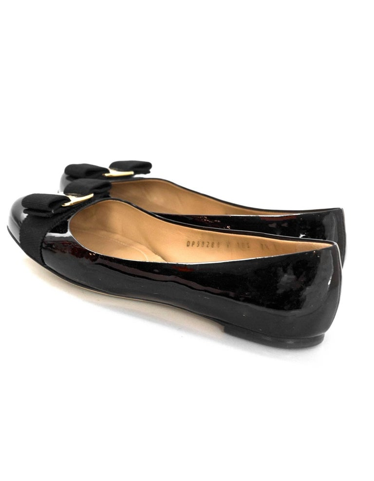 Women's Salvatore Ferragamo Black Patent Leather Varina Bow Flats Sz 7.5C with Box, DB For Sale