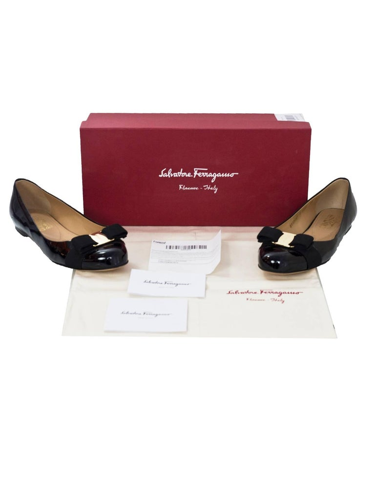 Salvatore Ferragamo Black Patent Leather Varina Bow Flats Sz 7.5C with Box, DB For Sale 2