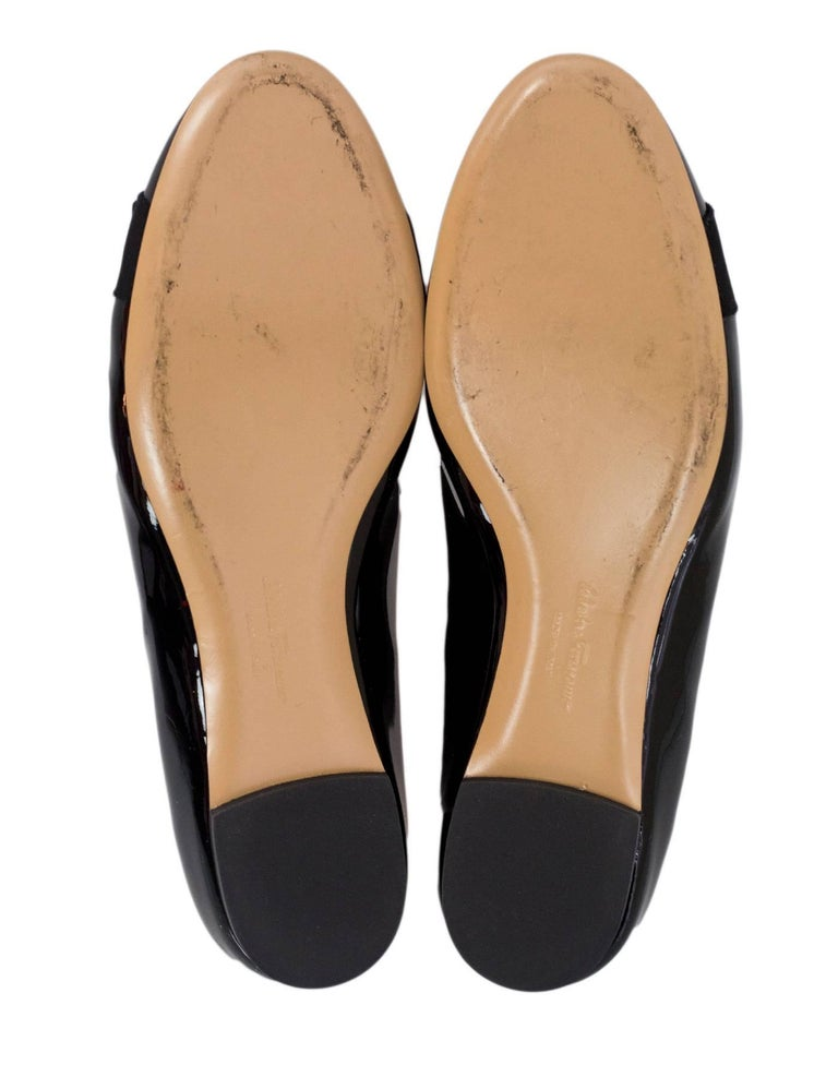 Salvatore Ferragamo Black Patent Leather Varina Bow Flats Sz 7.5C with Box, DB For Sale 1