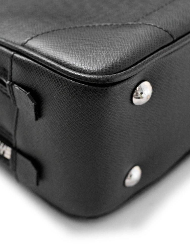 990b575ba8f7 Louis Vuitton Black Taiga Leather Briefcase Laptop Computer Bag For Sale 1