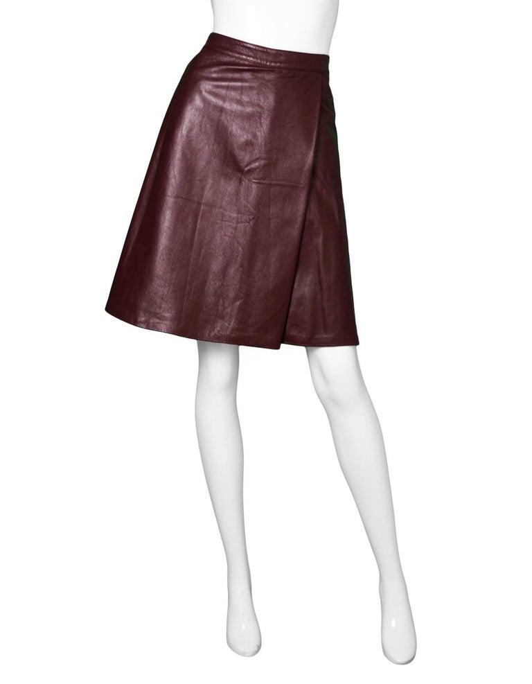 luca luca burgundy leather skirt sz 10 for sale at 1stdibs