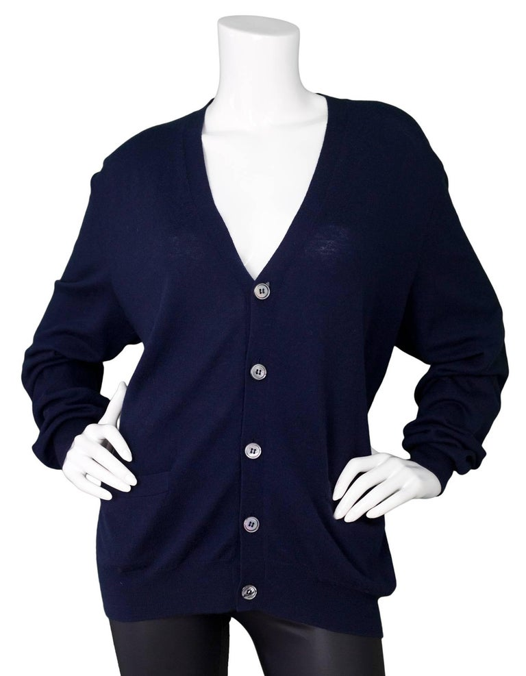 Ralph Lauren Purple Label Navy Cashmere Cardigan Sz XL For Sale at ...