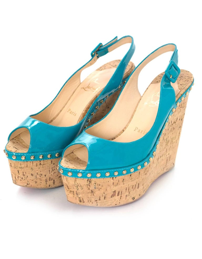 0bc036663418 Christian Louboutin Turquoise Patent Leather Peep-Toe Wedges Sz 38 Features  studding detail Made In