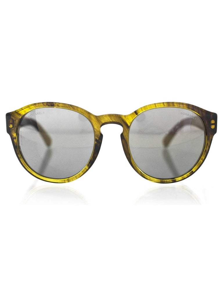Gray Chanel Green Pantos Fall Round Frame 5359 Sunglasses  For Sale