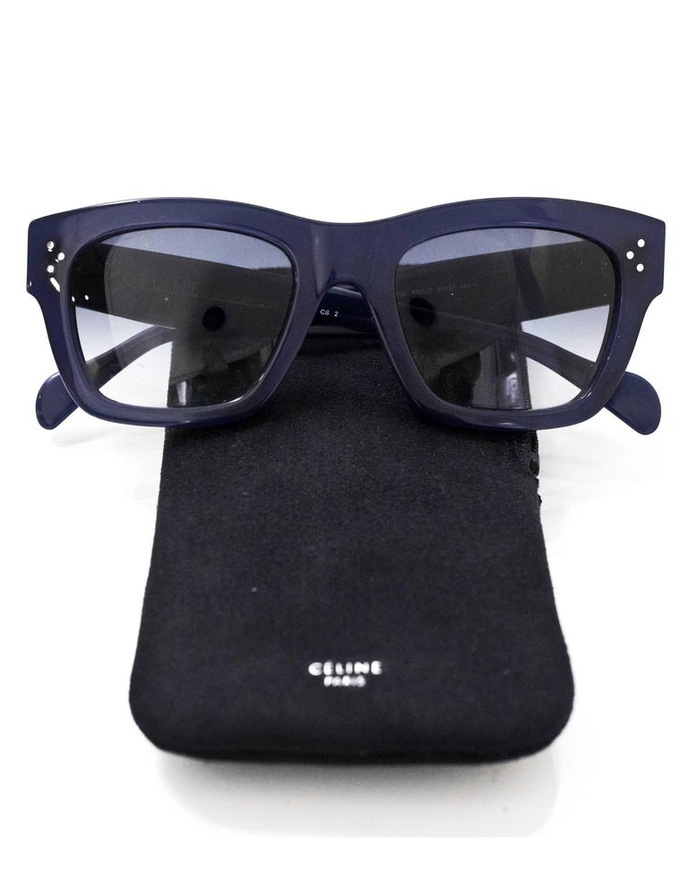24d99ac4586b Celine Navy CL 41732 Sunglasses with Case For Sale at 1stdibs