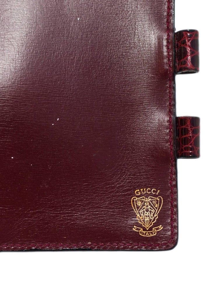 gucci vintage burgundy glazed crocodile mini agenda book for sale at 1stdibs. Black Bedroom Furniture Sets. Home Design Ideas