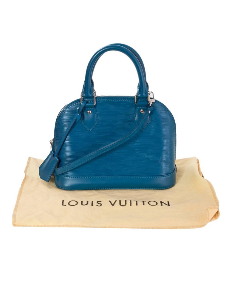 Louis Vuitton Cyan Blue Epi Leather Alma BB Crossbody Bag with DB For Sale 5