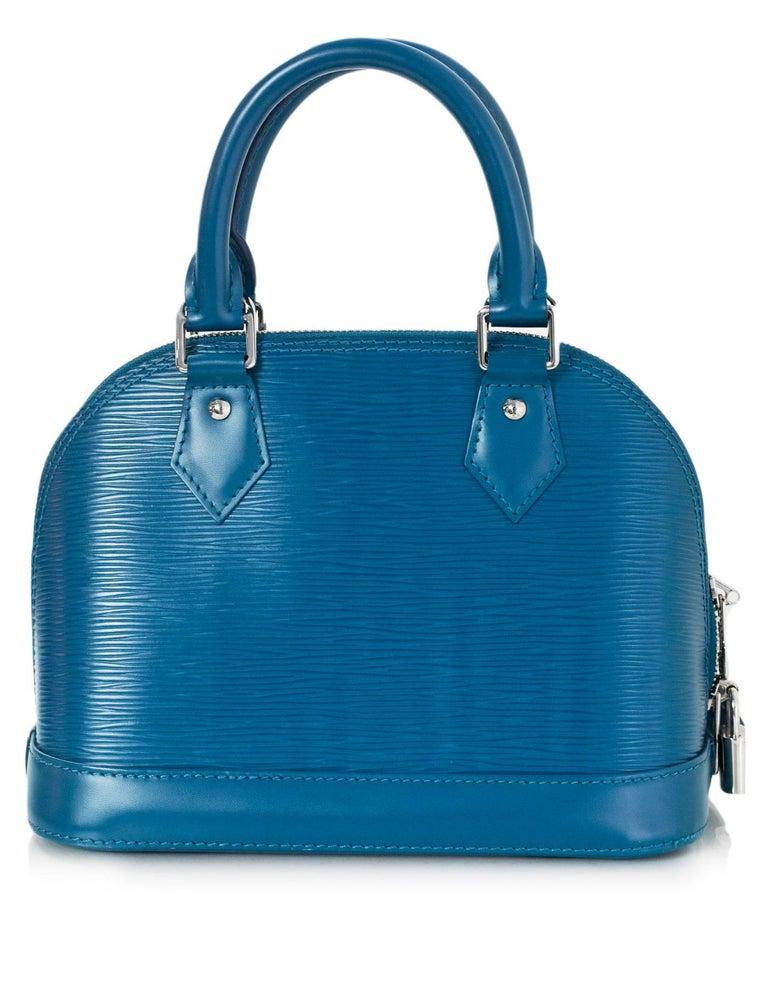 Women's Louis Vuitton Cyan Blue Epi Leather Alma BB Crossbody Bag with DB For Sale