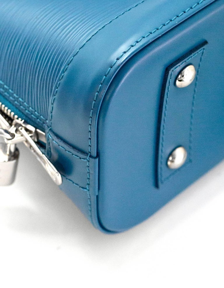 Louis Vuitton Cyan Blue Epi Leather Alma BB Crossbody Bag with DB For Sale 1